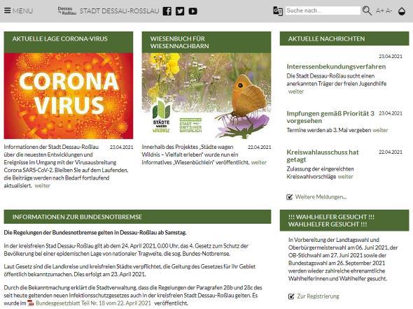 Screenshot: Homepage Stadt Dessau-Roßlau