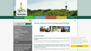 Screenshot: Homepage Samtgemeinde Dransfeld