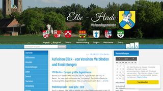 Screenshot: Homepage Verbandsgemeinde Elbe-Heide