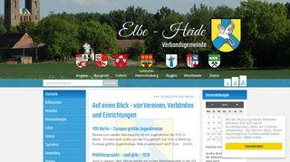Screenshot: Homepage Verbandsgemeinde Elbe-Heide