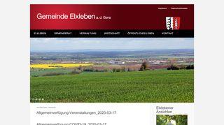 Screenshot: Homepage Gemeinde Elxleben