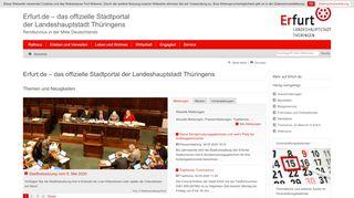 Screenshot: Homepage Landeshauptstadt Erfurt