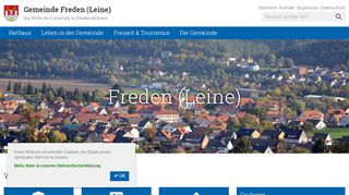 Screenshot: Homepage Gemeinde Freden