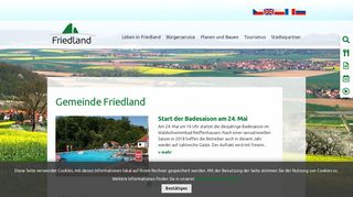Screenshot: Homepage Gemeinde Friedland