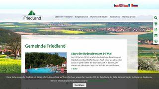 Screenshot: Homepage Gemeinde Friedland