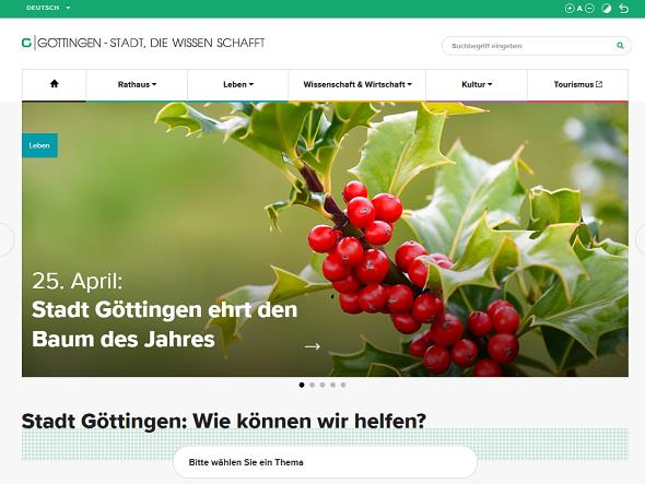 Screenshot: Homepage Stadt Göttingen