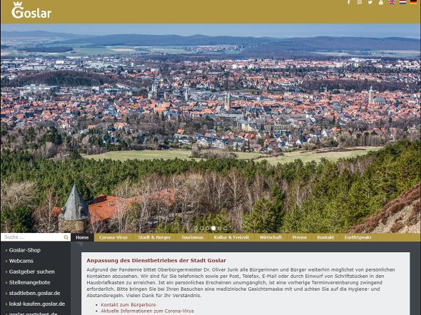 Screenshot: Homepage Stadt Goslar