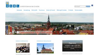 Screenshot: Homepage Stadt Gräfenhainichen