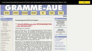 Screenshot: Homepage Verwaltungsgemeinschaft Gramme-Vippach