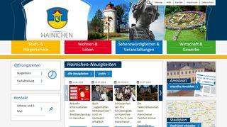 Screenshot: Homepage Stadt Hainichen