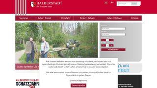 Screenshot: Homepage Stadt Halberstadt