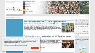 Screenshot: Homepage Stadt Haldensleben