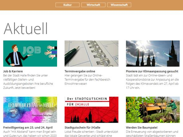 Screenshot: Homepage Stadt Halle