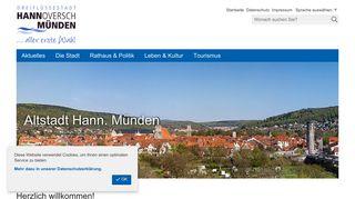 Screenshot: Homepage Stadt Hannoversch Münden