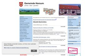Screenshot: Homepage Gemeinde Harsum