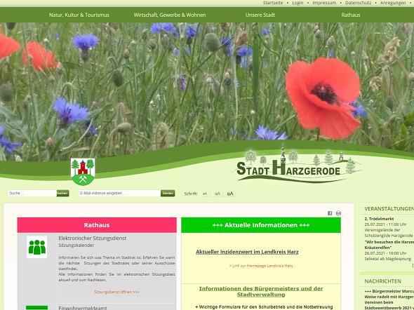 Screenshot: Homepage Stadt Harzgerode