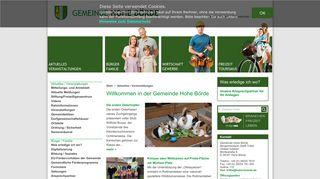 Screenshot: Homepage Gemeinde Hohe Börde