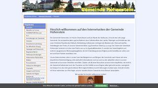 Screenshot: Homepage Gemeinde Hohenstein