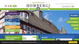 Screenshot: Homepage Stadt Homberg