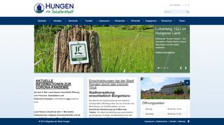 Screenshot: Homepage Stadt Hungen