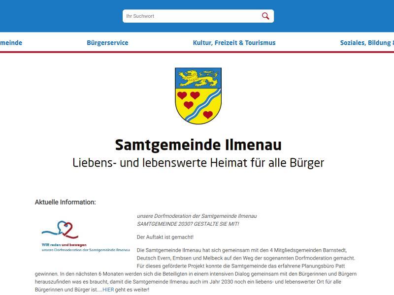 Screenshot: Homepage Samtgemeinde Ilmenau