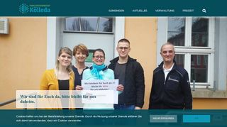 Screenshot: Homepage Verwaltungsgemeinschaft Kölleda