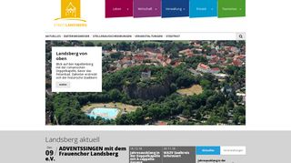 Screenshot: Homepage Stadt Landsberg