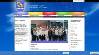 Screenshot: Homepage Gemeinde Lehre
