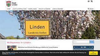 Screenshot: Homepage Stadt Linden