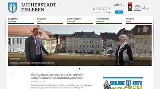 Screenshot: Homepage Stadt Eisleben