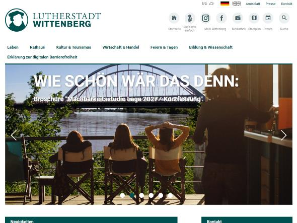 Screenshot: Homepage Stadt Wittenberg