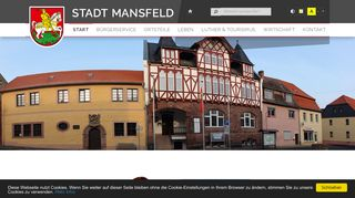 Screenshot: Homepage Stadt Mansfeld