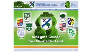 Screenshot: Homepage Verbandsgemeinde Mansfelder Grund-Helbra