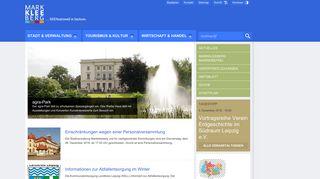 Screenshot: Homepage Stadt Markkleeberg