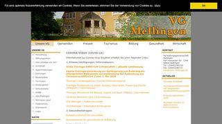 Screenshot: Homepage Verwaltungsgemeinschaft Mellingen