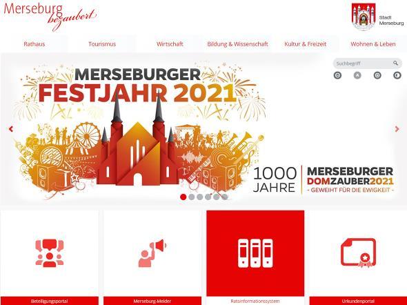 Screenshot: Homepage Stadt Merseburg