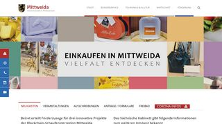 Screenshot: Homepage Stadt Mittweida