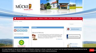 Screenshot: Homepage Gemeinde Mücke