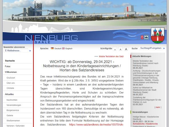 Screenshot: Homepage Stadt Nienburg