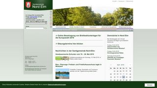 Screenshot: Homepage Samtgemeinde  Nord-Elm