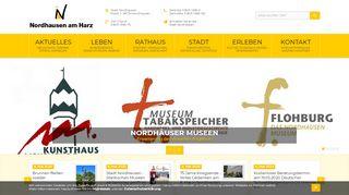 Screenshot: Homepage Stadt Nordhausen