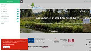 Screenshot: Homepage Gemeinde Nuthe-Urstromtal