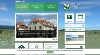 Screenshot: Homepage Stadt Oberharz am Brocken