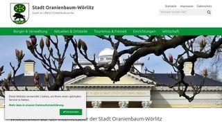 Screenshot: Homepage Stadt Oranienbaum-Wörlitz