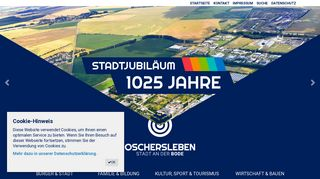 Screenshot: Homepage Stadt Oschersleben