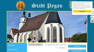 Screenshot: Homepage Stadt Pegau