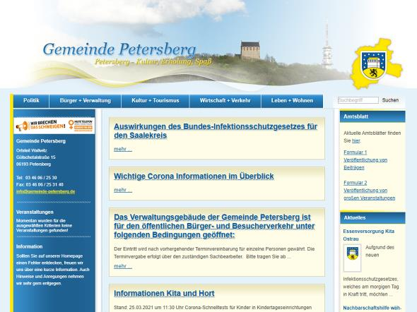 Screenshot: Homepage Gemeinde Petersberg