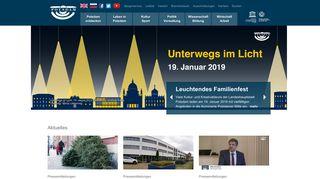 Screenshot: Homepage Stadt Potsdam