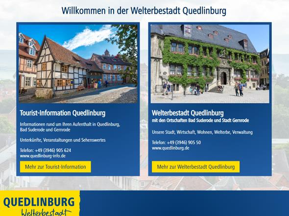 Screenshot: Homepage Welterbestadt Quedlinburg