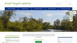 Screenshot: Homepage Stadt Raguhn-Jeßnitz